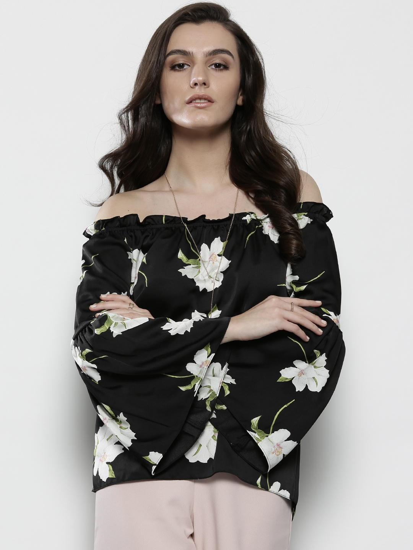 7f14e45e89af07 Buy DOROTHY PERKINS Women Black Floral Print Bardot Top - Tops for ...