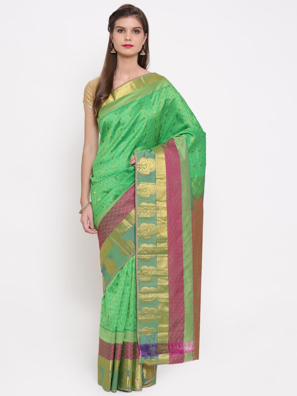 The Chennai Silks Classicate Green Woven Design Pure Dharmavaram Silk Saree