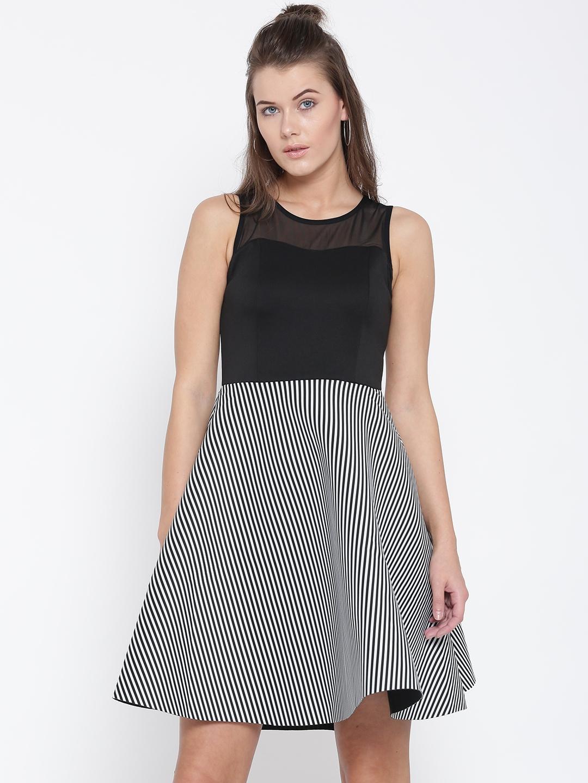 46330134272c Buy Deal Jeans Women Black Striped Fit & Flare Dress - Dresses for ...
