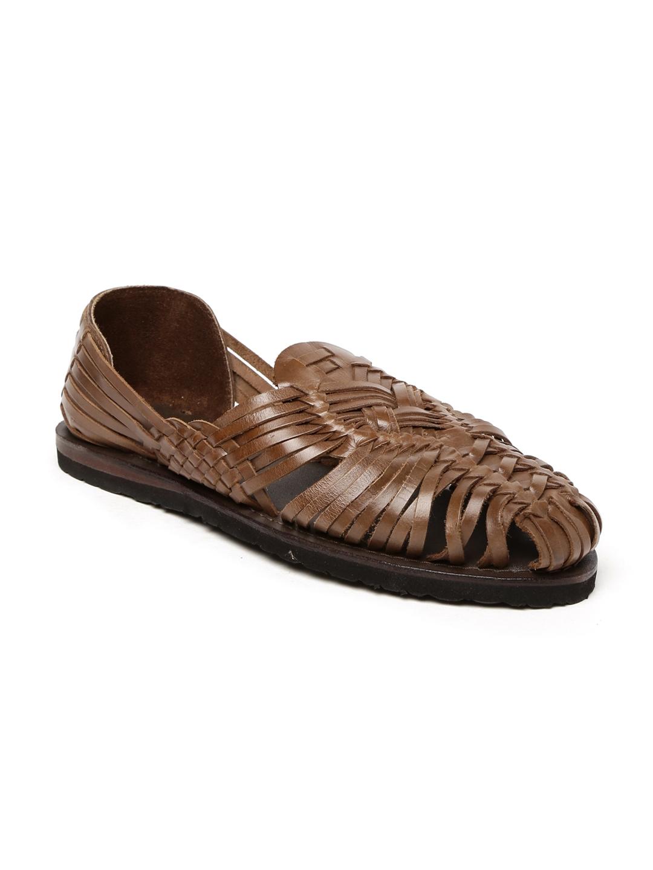 61fe2a5cb67e Buy Estd. 1977 Men Brown Leather Sandals - Sandals for Men 2159568 ...