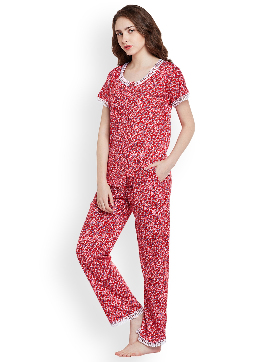 e93e76e2729 Buy Claura Red Printed Night Suit Cot 32 - Night Suits for Women ...