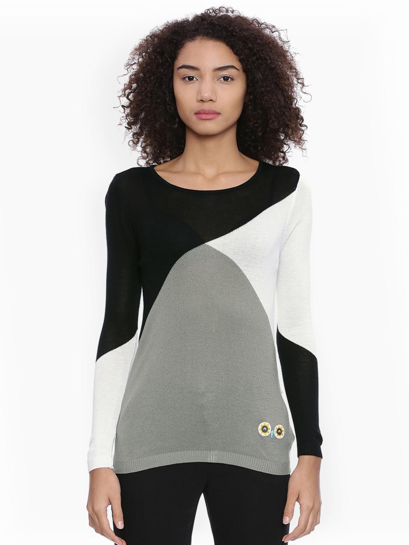 a3185582423a6 Buy Chumbak Women Black   White Colourblocked Sweater Vest - Sweaters for  Women 2160326