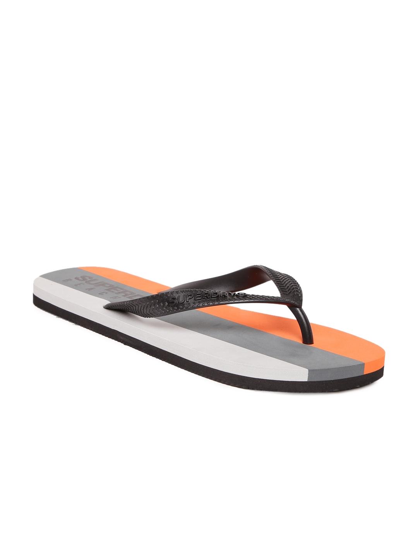 c496586914a25f Buy Superdry Men Black   Grey Striped Flip Flops - Flip Flops for ...