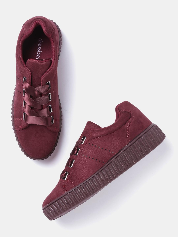 Buy DressBerry Women Maroon Sneakers