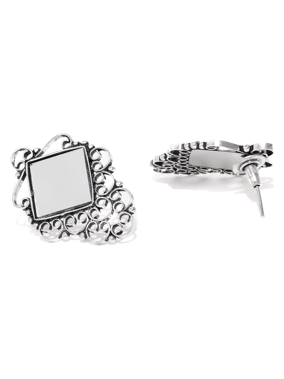 141afeff8 Buy FIROZA Oxidised Silver Toned Handcrafted Mirror Work Studs ...