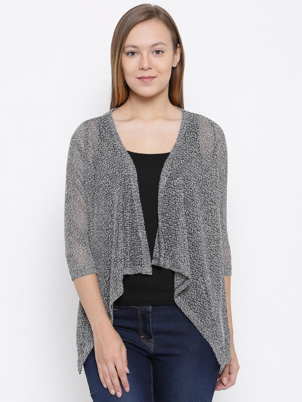 50e91773d0 Buy Park Avenue Woman Grey Self Design Shrug - Sweaters for Women ...
