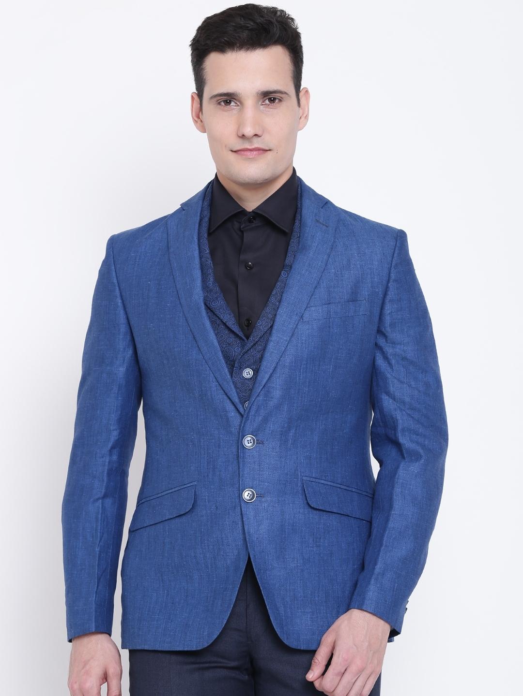 0c976b39ac Buy Park Avenue Blue Linen Slim Fit Single Breasted Casual Blazer ...
