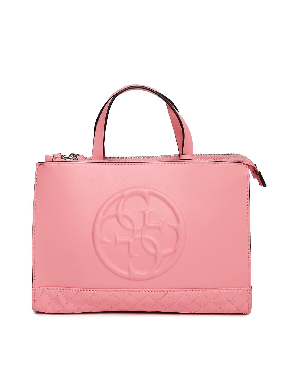 Buy GUESS Pink Solid Handbag - Handbags for Women 2167250   Myntra 8781e0af13