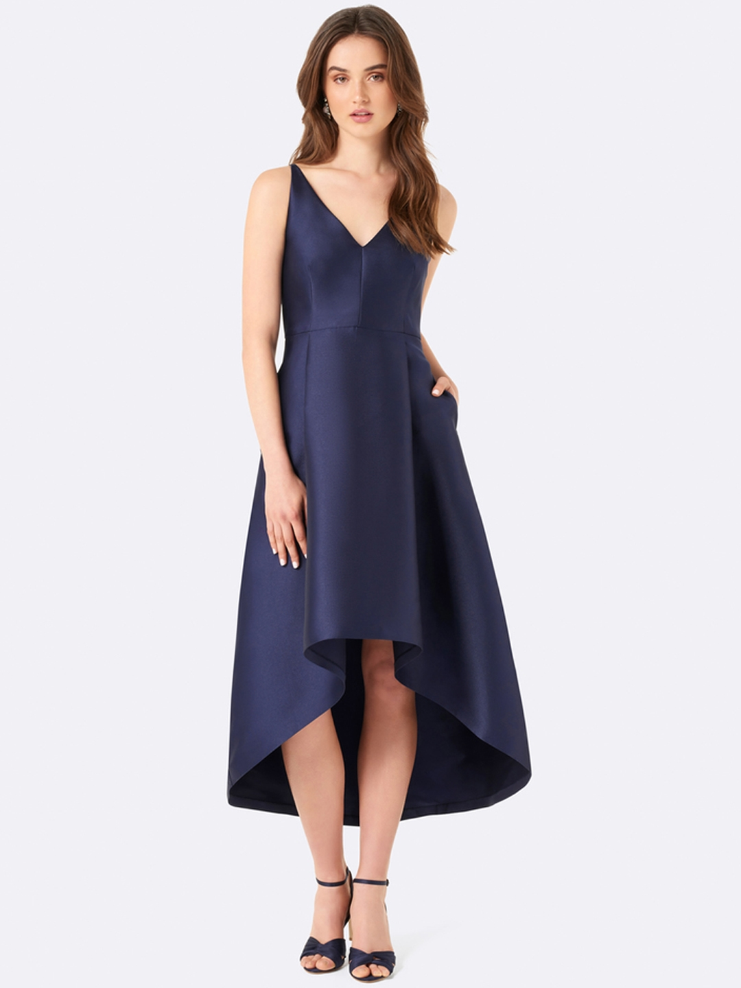 1a7916f91859 Buy Forever New Women Navy Blue Solid Fit And Flare Dress - Dresses ...