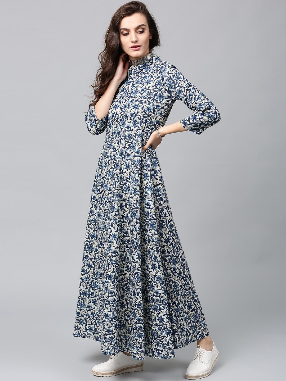 2d210843d48 Buy AKS Women Blue   Off White Printed One Shoulder Maxi Dress ...