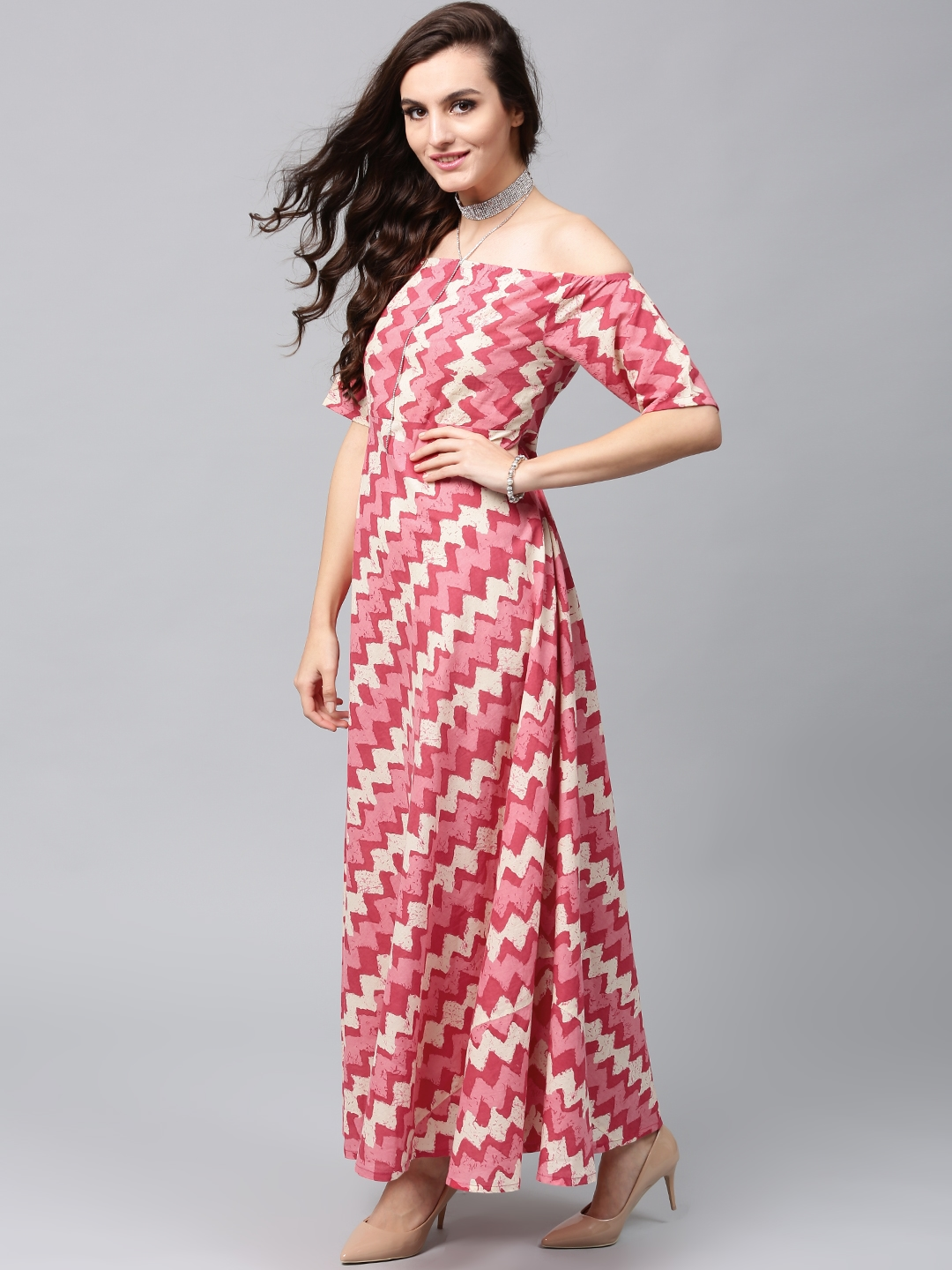 Buy AKS Women Pink   Cream Coloured Printed Off Shoulder Maxi Dress ... b9f437394a