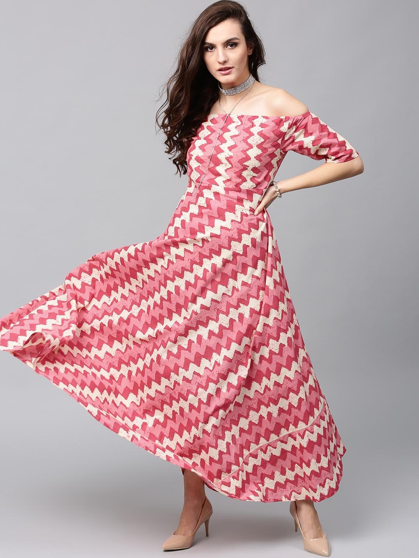 7d5213944225 Buy AKS Women Pink   Cream Coloured Printed Off Shoulder Maxi Dress ...
