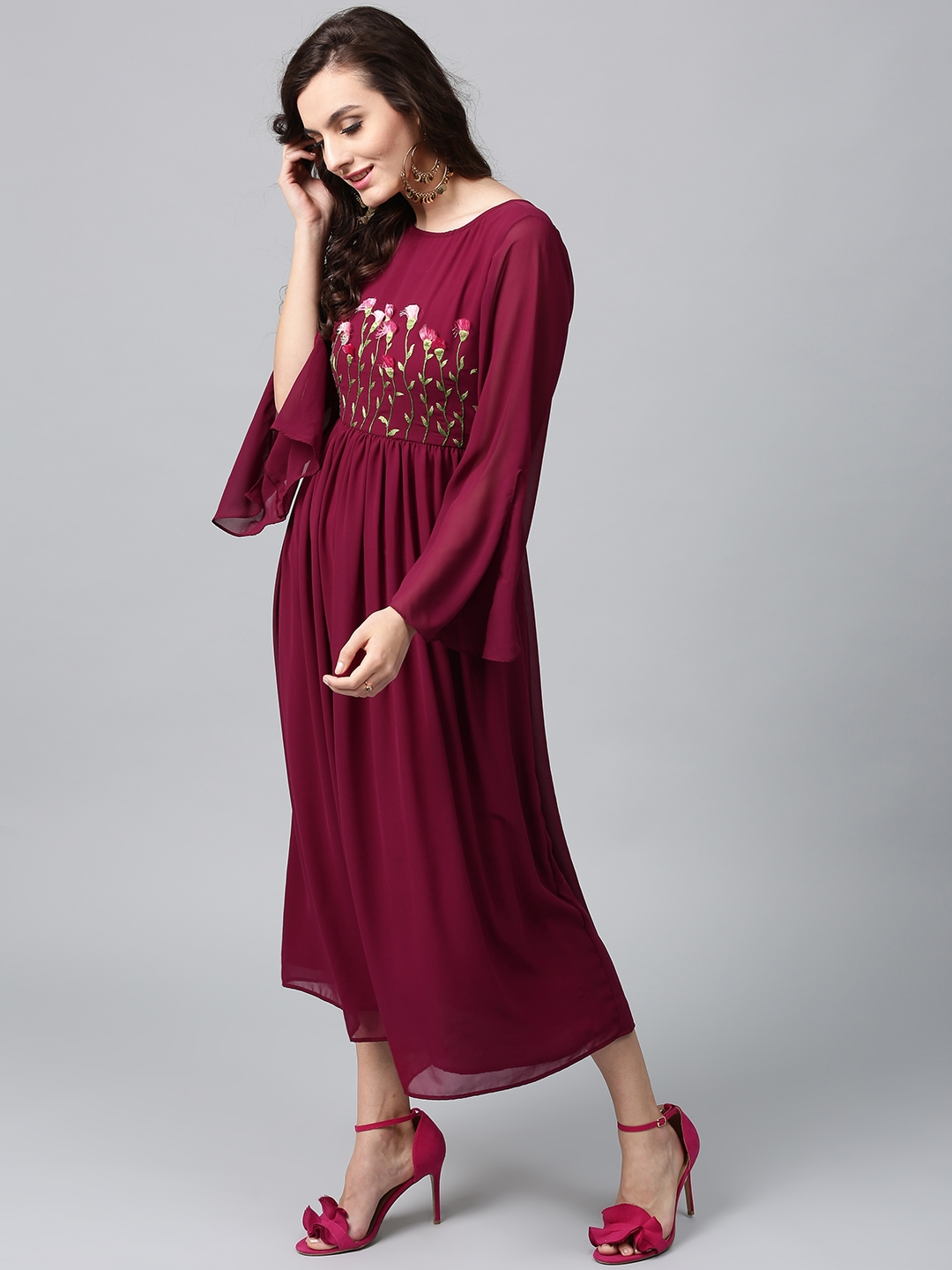 4df039da623f Buy AKS Women Burgundy Embroidered Georgette Midi Fit   Flare Dress ...