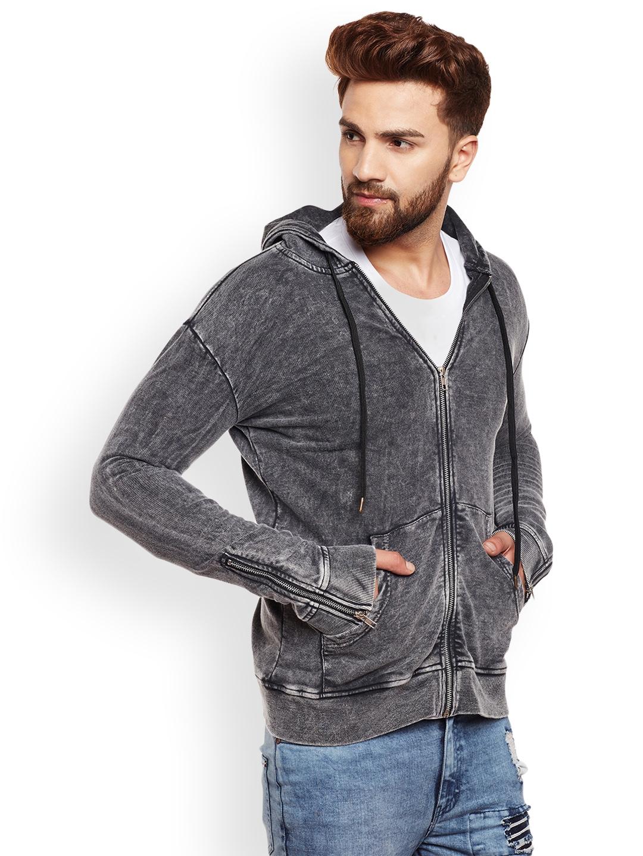 FUGAZEE Men Grey Self Design Hooded Sweatshirt