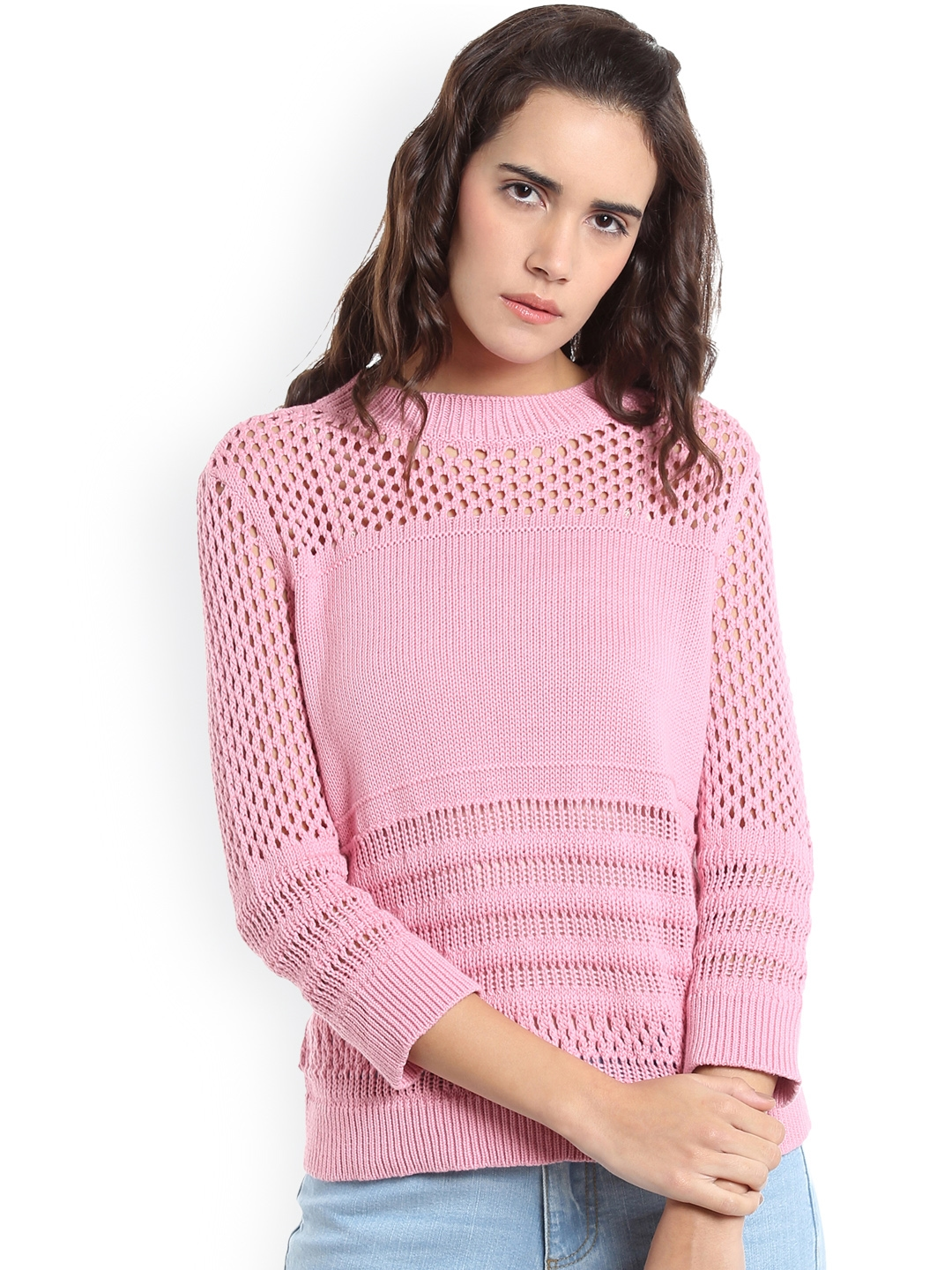 c554794f663 Buy Vero Moda Women Pink Self Design Sweater Vest - Sweaters for ...