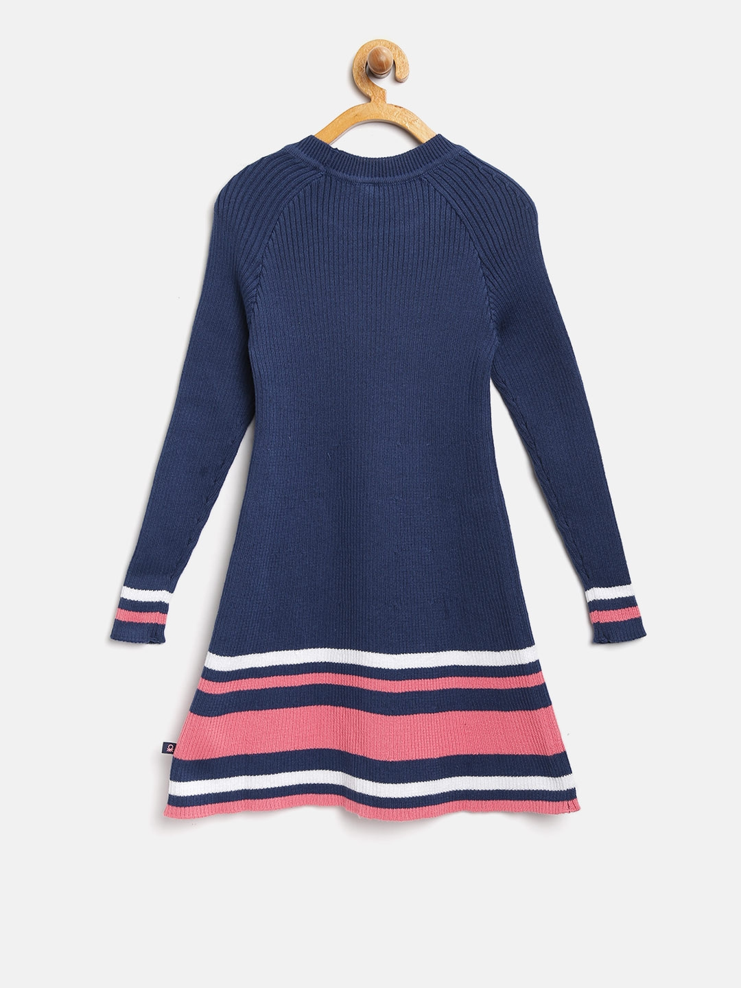 caf6a53b43c Buy United Colors Of Benetton Girls Navy Blue Self Design Sweater ...