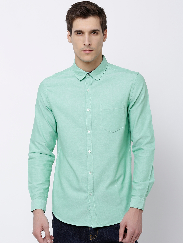 4e0f10c11d Buy Black Coffee Men Green Slim Fit Solid Semiformal Shirt - Shirts ...