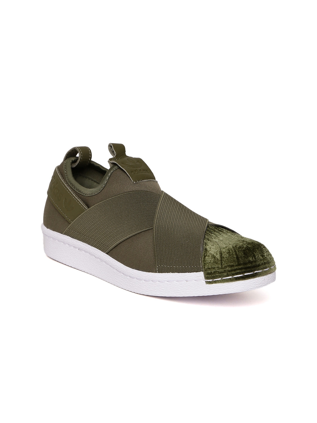 Buy ADIDAS Originals Women Olive Green Superstar Slip On Sneakers ... 33b0a16139