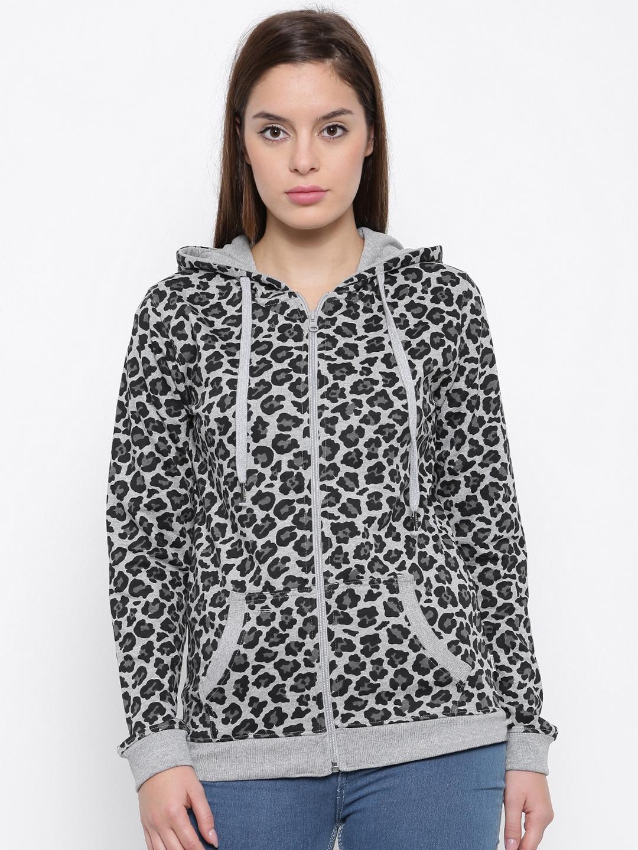 Converse Women Grey   Black Printed Hooded Sweatshirt