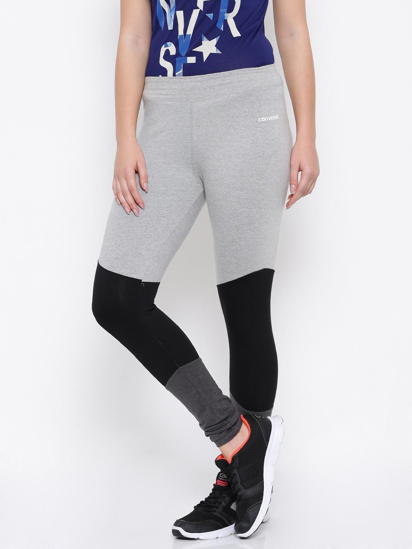 5eac703986cc Buy Converse Grey Melange   Black Colourblocked Tights - Tights for ...