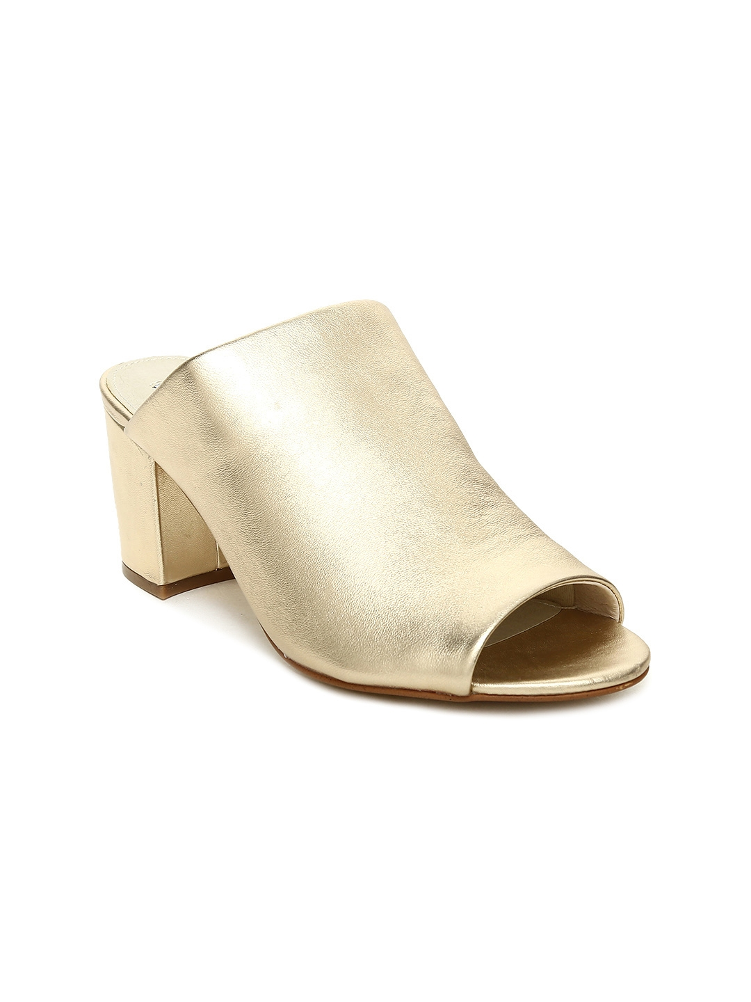 70dcd9c7a47 Buy Steve Madden Women Gold Toned INFINITY Leather Heeled Mules ...