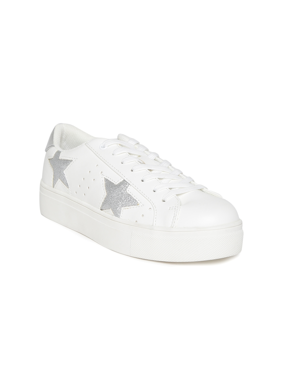 243ea8c5014 Madden Girl by Steve Madden Women Off-White Perforated Star-Shaped  Patterned Sneakers