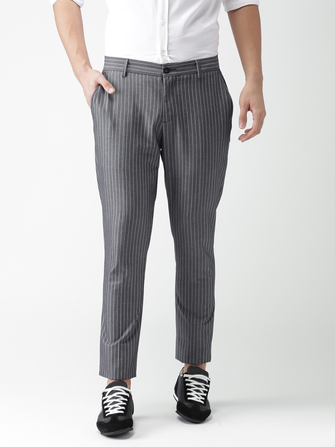 cbc33658d7 Buy INVICTUS Men Slim Fit Striped Smart Casual Trousers - Trousers ...