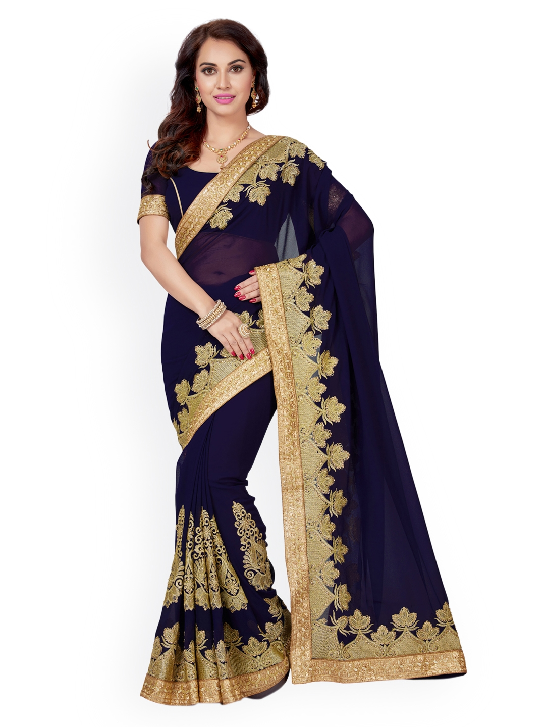 8708f5cce3 Buy Saree Swarg Navy Blue & Gold Toned Poly Georgette Embroidered ...