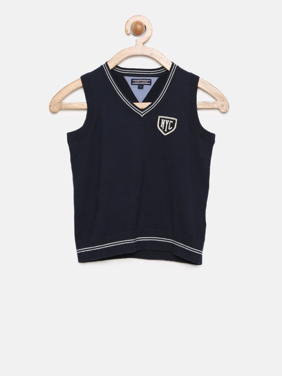 2500d27593f54 Buy Tommy Hilfiger Boys Navy Solid Sleeveless Sweater - Sweaters for ...