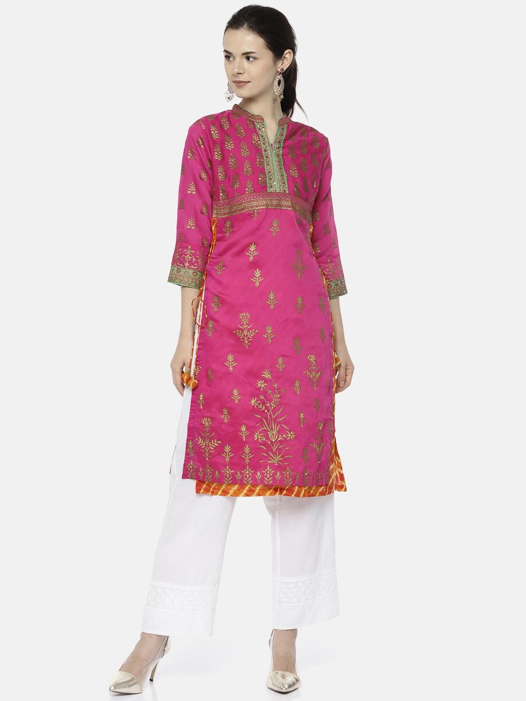ce265430c Buy Biba Women Pink Printed Layered Straight Kurta - Kurtas for ...