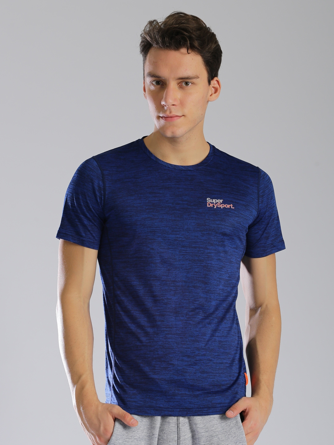 fbc259399096 Buy Superdry Men Blue Self Design Active Fit Round Neck T Shirt ...