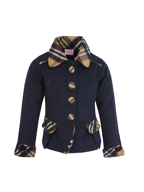 9b42ebcd9e15 Buy CUTECUMBER Girls Navy Blue Coat - Coats for Girls 2176015