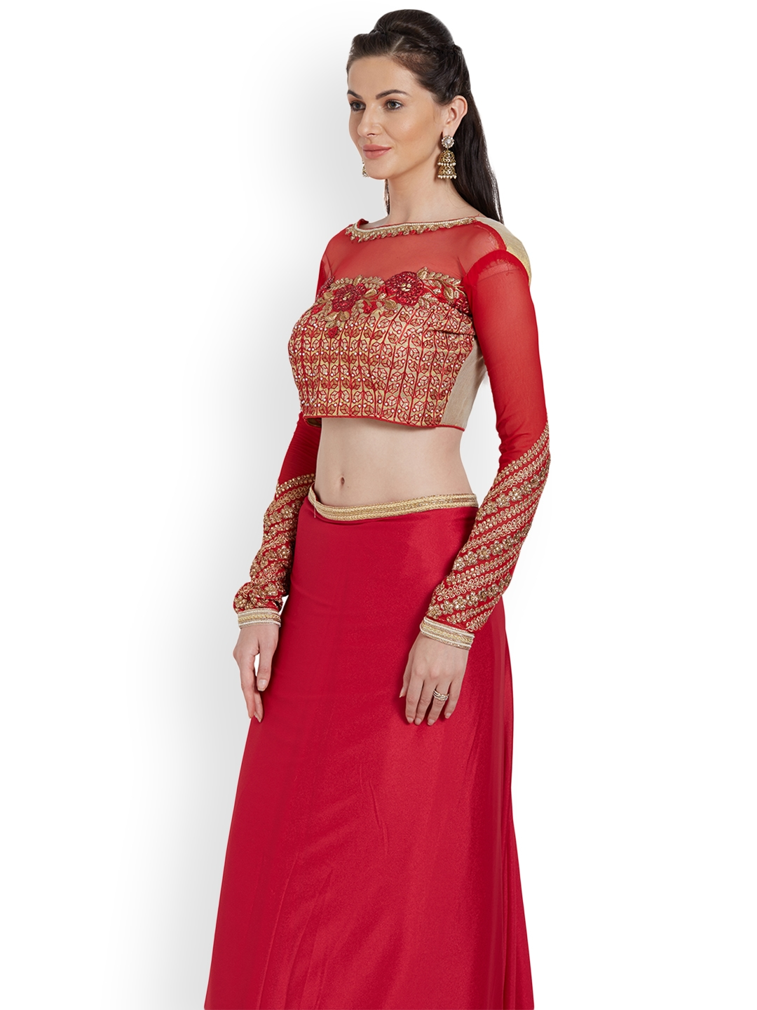 69d3054b56 Buy RIYA Red Embroidered Art Silk & Faux Georgette Saree Blouse ...