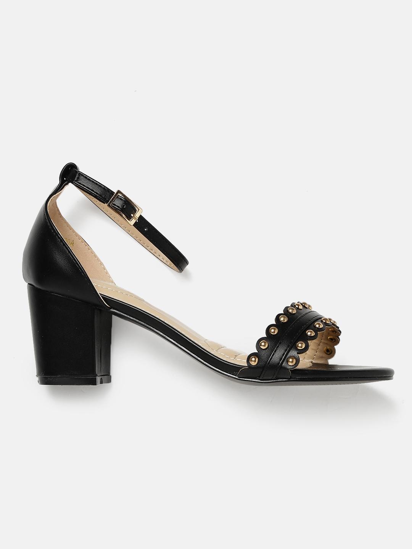 abd25a2d5c4c Buy DressBerry Women Black Studded Block Heels - Heels for Women ...