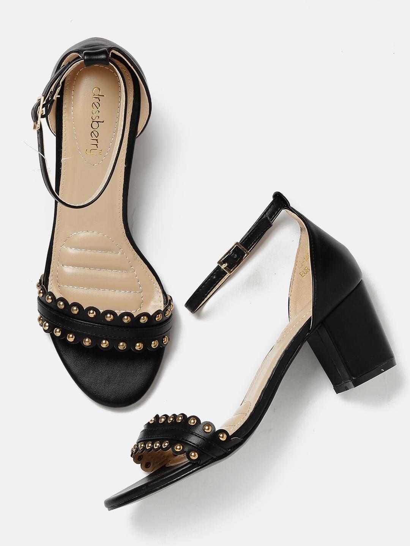 d5d05ebeeaa Buy DressBerry Women Black Studded Block Heels - Heels for Women ...