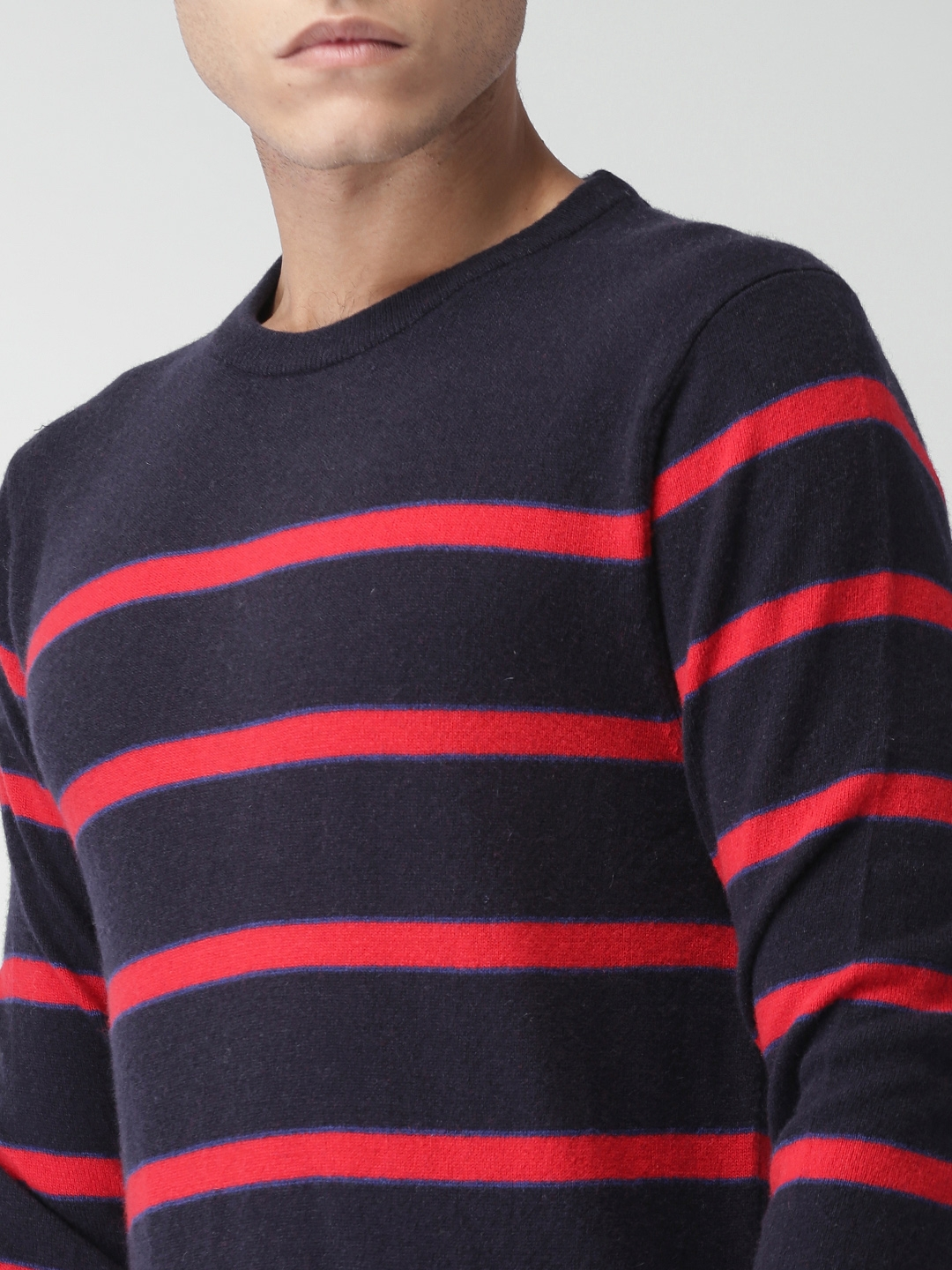 680f6147 Buy Tommy Hilfiger Men Navy Blue & Red Striped Pullover - Sweaters ...