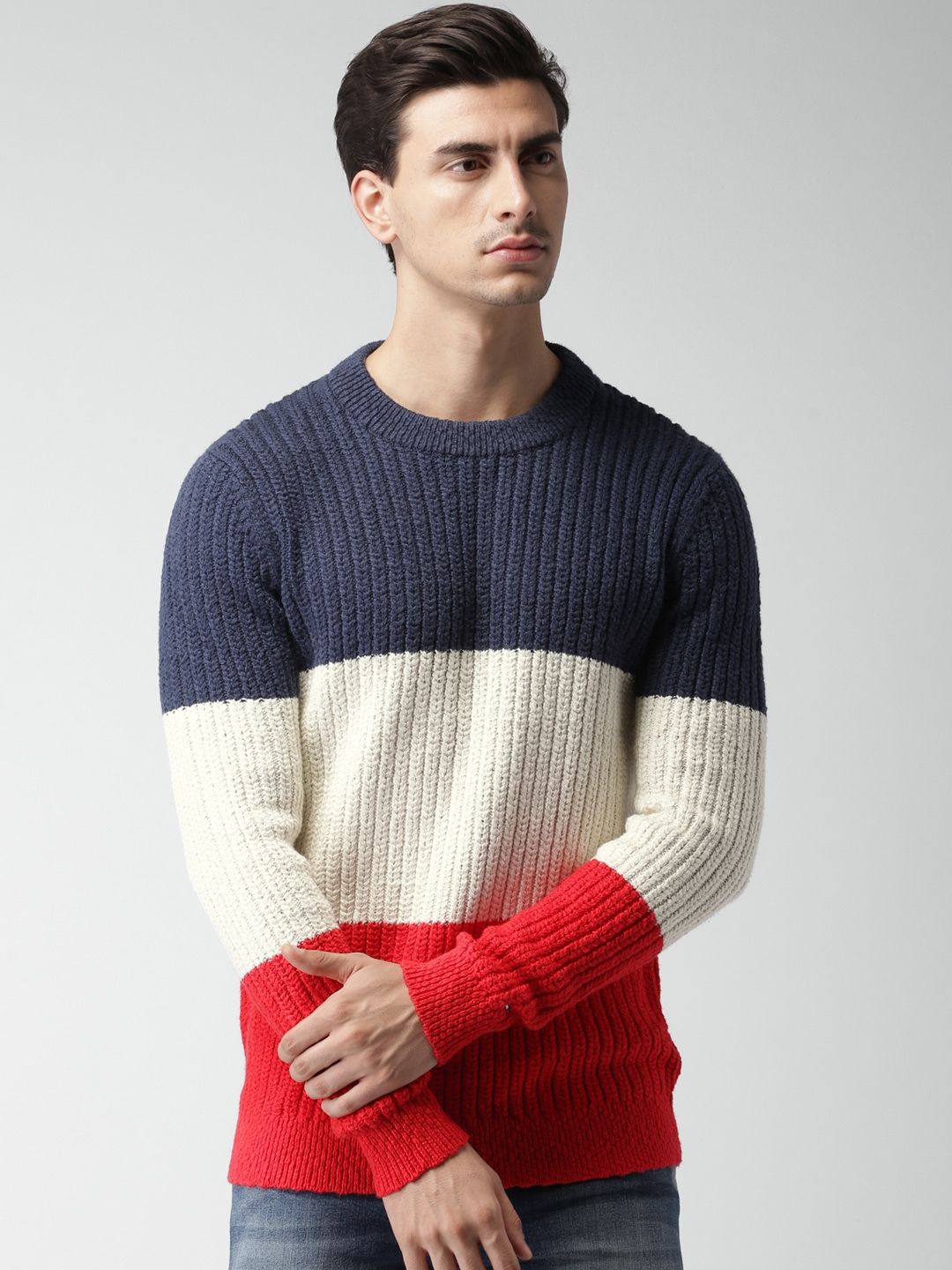 6dbca86f2b2fa5 Buy Tommy Hilfiger Men Navy & Off White Colourblocked Pullover - Sweaters  for Men 2179103 | Myntra