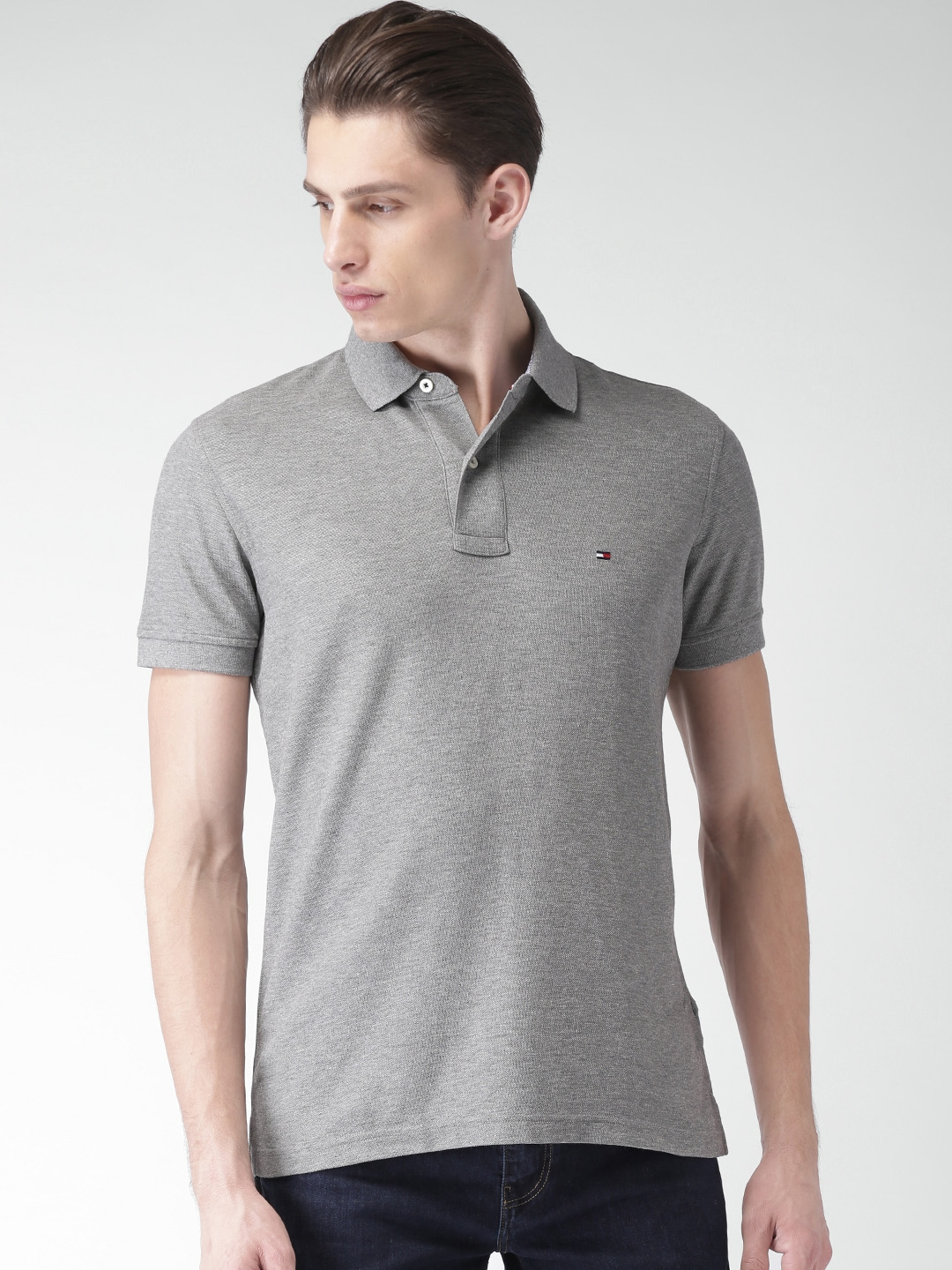 de080169 Buy Tommy Hilfiger Men Grey Solid Polo Collar T Shirt - Tshirts for ...
