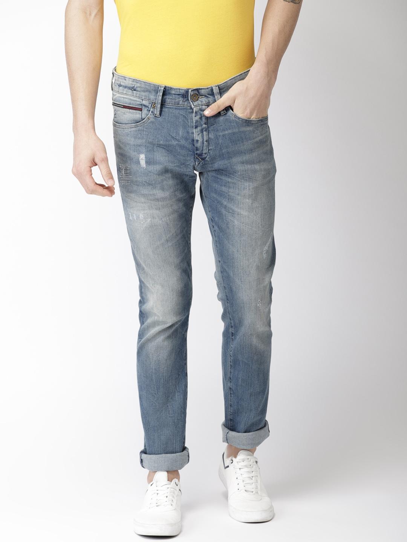 1face2769169 Tommy Hilfiger Men Blue Slim Fit Low-Rise Mildly Distressed Stretchable  Jeans