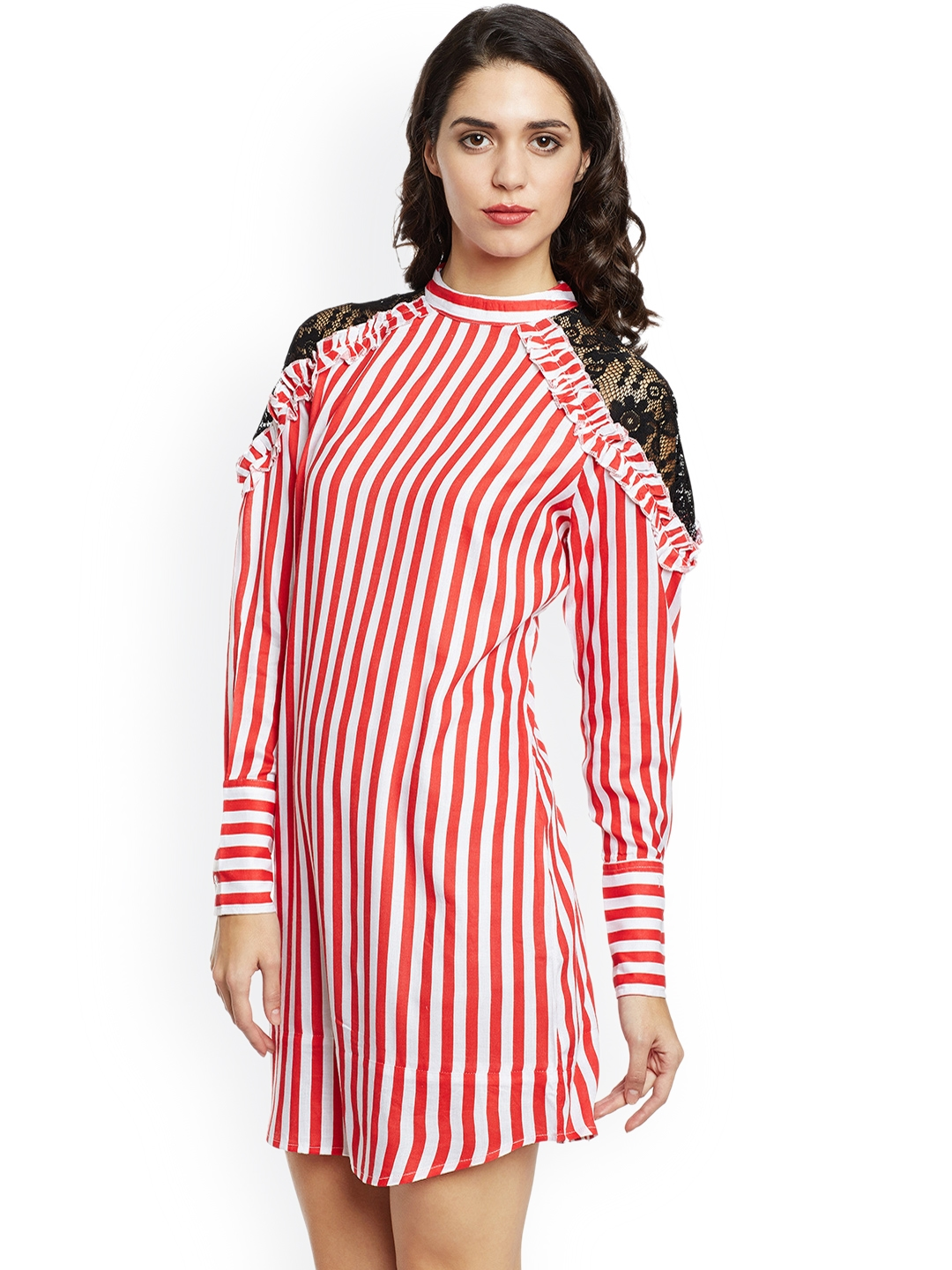 c5e39ba239d5b7 Buy THE SILHOUETTE STORE Women Red   White Striped Shirt Dress ...