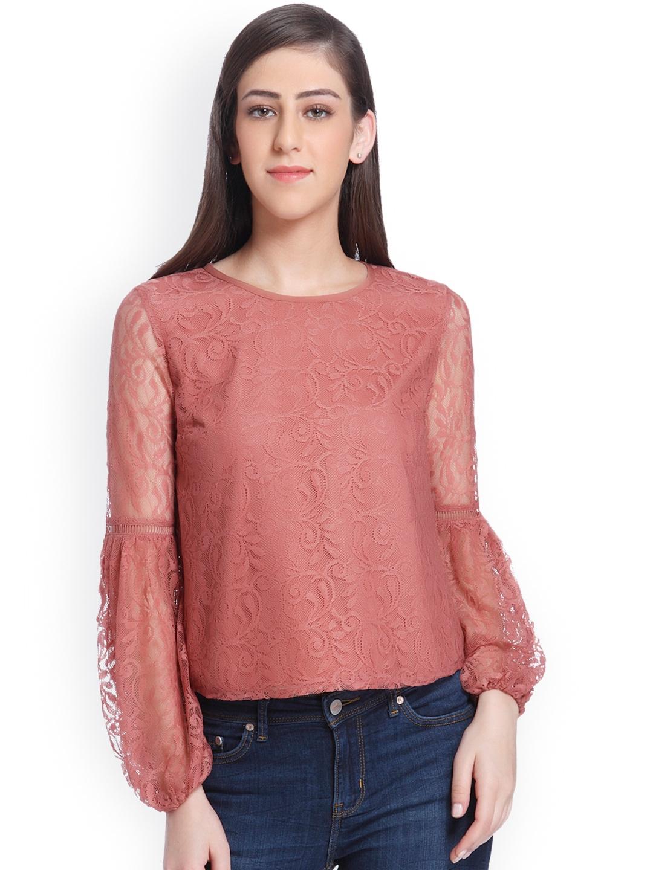 0327da249db197 Buy ONLY Women Dusty Pink Self Design Top - Tops for Women 2181156 ...