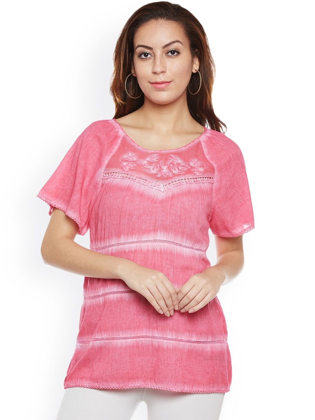 f93d05b0c6900a Buy Free & Young Women Pink Embroidered Top - Tops for Women 2184373 ...