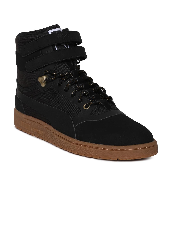 Puma Unisex Black Solid Leather Sky II Hi Weatherproof High-Top Sneakers aed464122