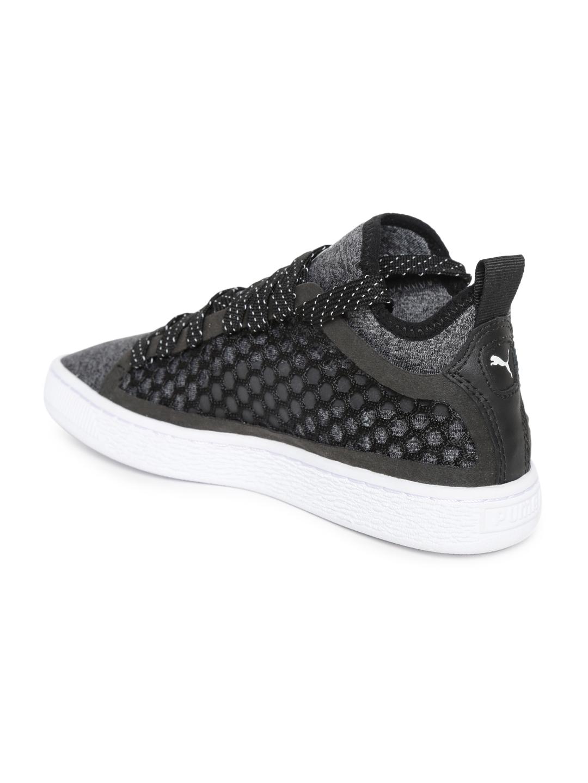 Puma Unisex Grey Melange Basket Classic NETFIT Woven Design Mid-Top Sneakers 370173791