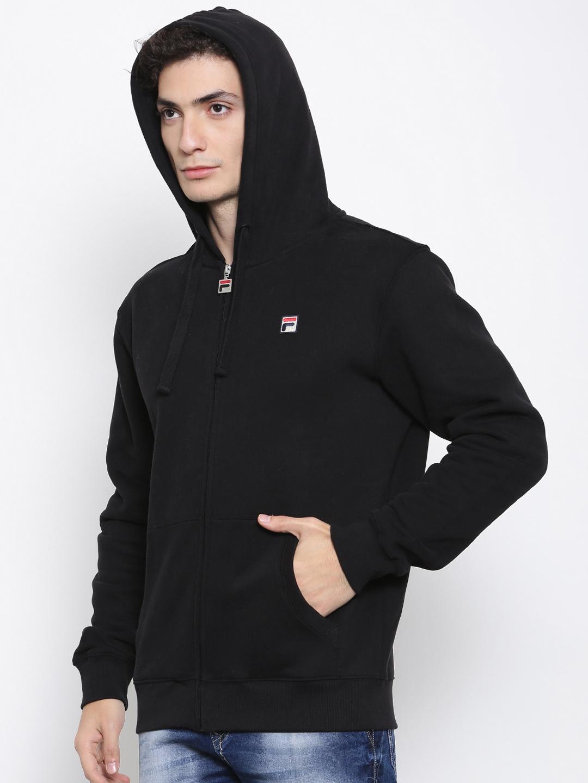 60e6285536 Buy FILA Men Black Solid Hooded Sweatshirt - Sweatshirts for Men ...