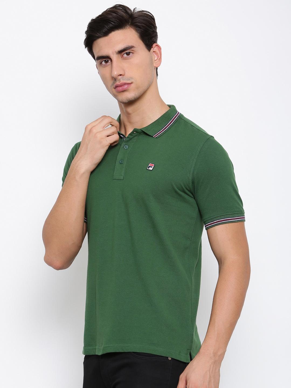 Buy FILA Men Green Solid Polo Collar T Shirt - Tshirts for ...