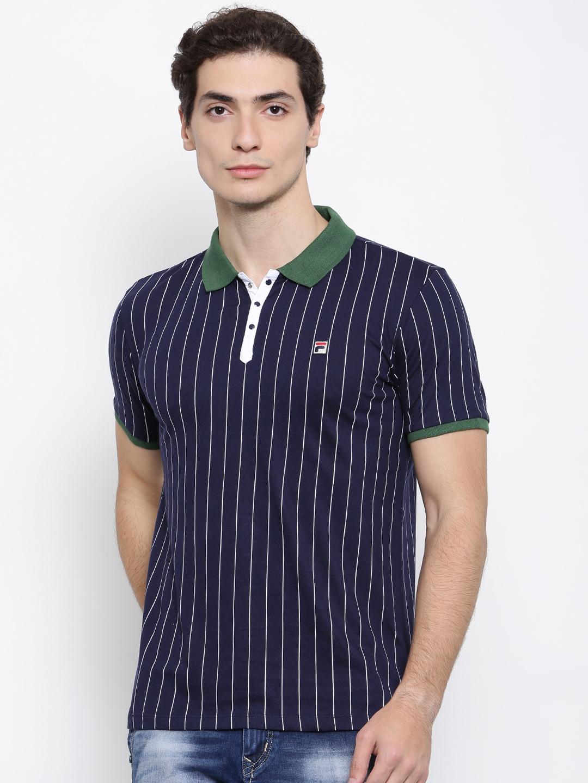 7b60b2e026 Buy FILA Men Navy Striped Polo Collar T Shirt - Tshirts for Men ...