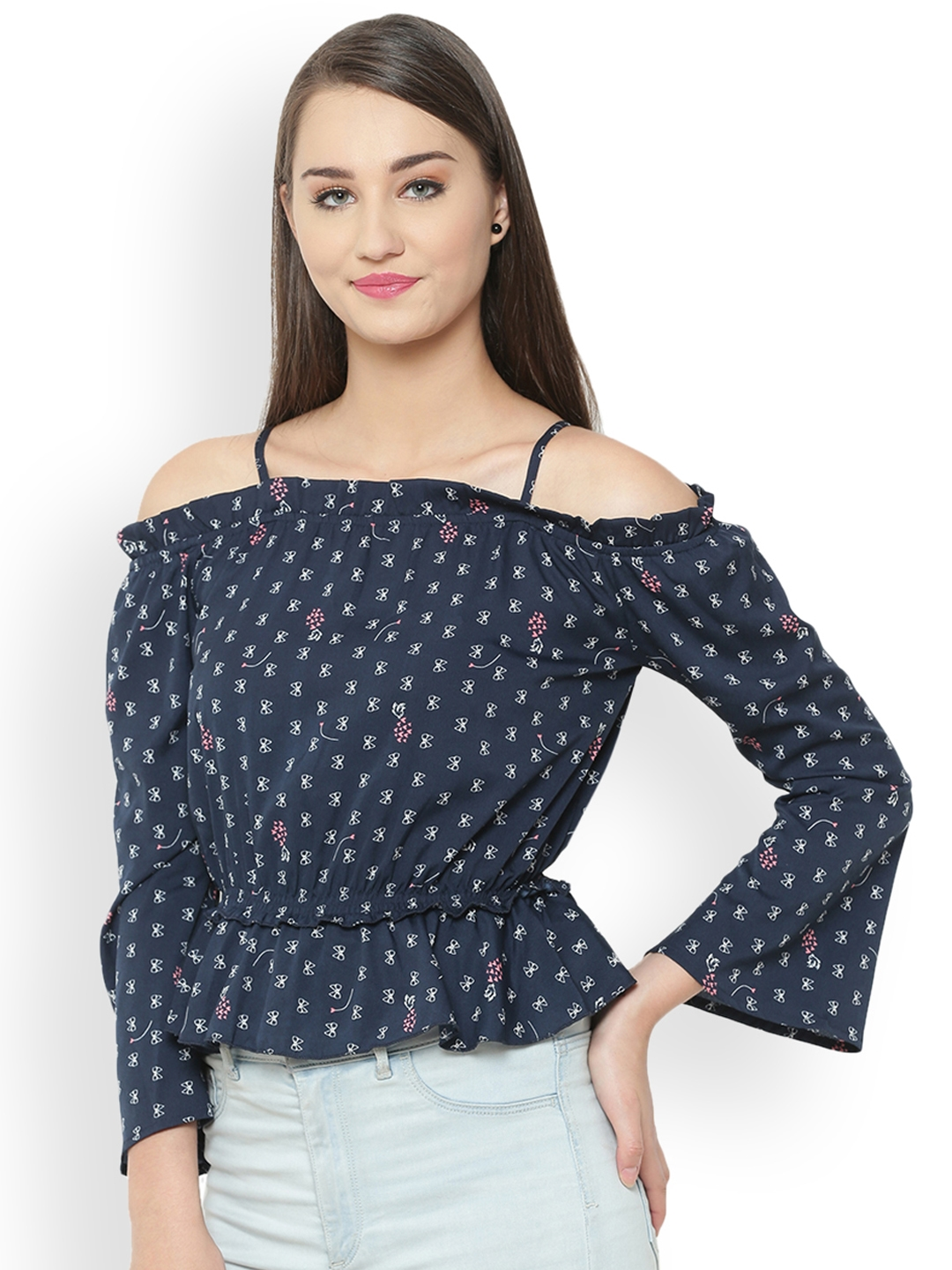 6a7323209ce95 Buy The Gud Look Women Blue Printed Blouson Top - Tops for Women ...