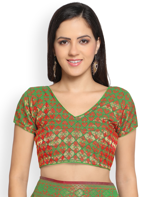 c6344dd83f8945 Buy Bhelpuri Green Silk Blend Woven Design Patola Saree - Sarees for ...
