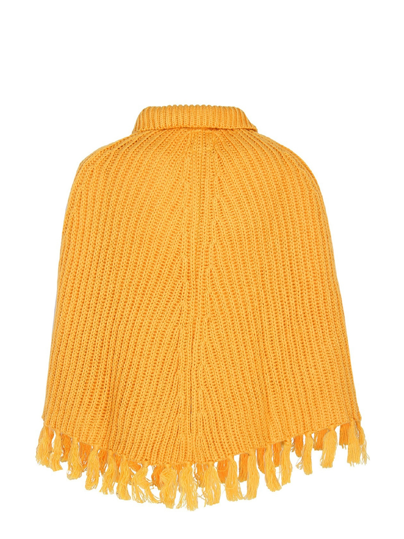 93e06878c Buy Cayman Girls Mustard Yellow Self Design Woollen Poncho ...